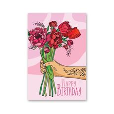 "фото 1 - Открытка Papadesign ""Happy birthday - пионы"" 10x15"