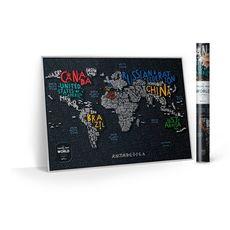 """Скретч-карта 1DEA.me """"Travel map Letters world"""", фото 1"""