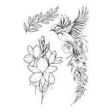"""фото 1 - Тату временное Arley Sign """"Сэт птица с цветами"""""""