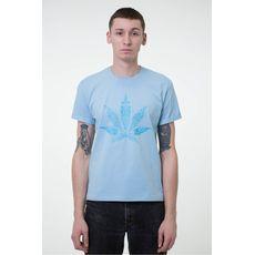 """фото 1 - Футболка унисекс Hipster """"Cannabis"""" голубая"""