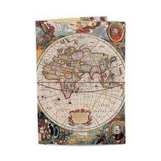 """фото 1 - Обложка на паспорт Just cover """"Древняя карта мира"""" 13,5 х 9,5 см"""