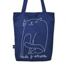 """фото 1 - Эко сумка Gifty """"с Котиком"""" синяя"""