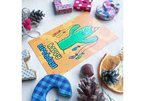 """фото 2 - Открытка Papadesign """"Happy birthday - кактус"""" 10x15"""