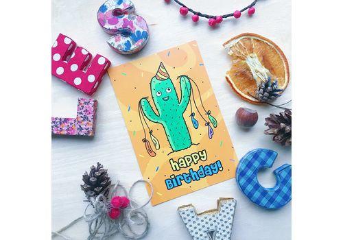 """фото 3 - Открытка Papadesign """"Happy birthday - кактус"""" 10x15"""