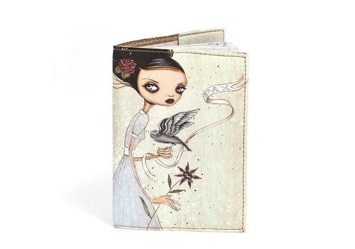 """фото 2 - Обложка на паспорт Just cover """"Девушка с цветком и птицей"""" 13,5 х 9,5 см"""