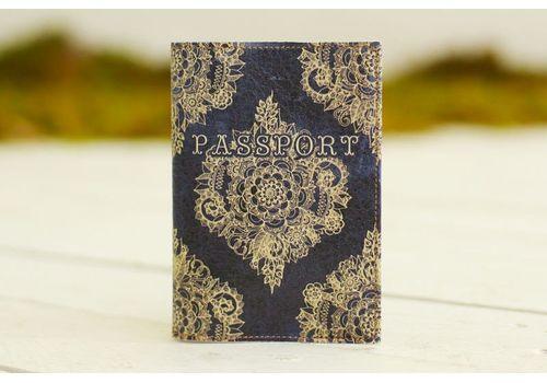 """фото 1 - Обложка на паспорт """"Узор на синем бархате"""""""