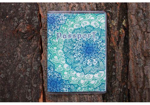 "зображення 1 - Обкладинка на паспорт ""Блакитний лотос"" пластик"