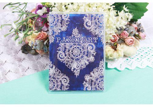 """фото 1 - Обложка на паспорт """"Узор на синем бархате"""" пластик"""