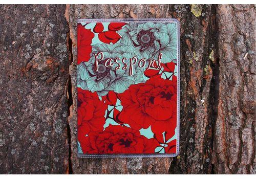 """зображення 1 - Обкладинка на паспорт """"Піони червоні з синім"""" пластик"""