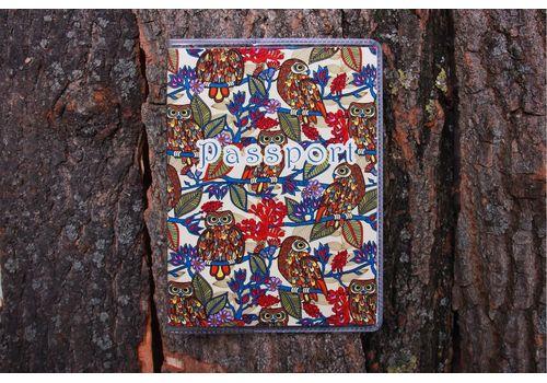 "фото 1 - Обложка на паспорт ""Совы на листьях"" пластик"