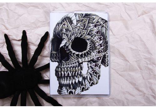 "фото 1 - Обложка на паспорт ""Череп на белом"" пластик"