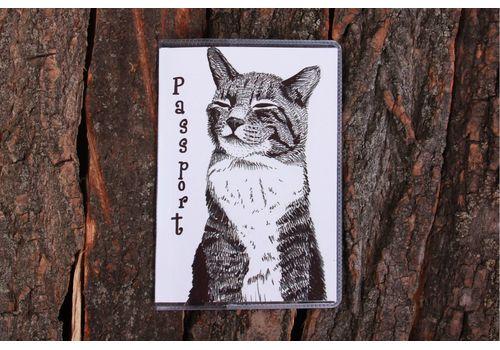 """зображення 1 - Обкладинка на паспорт """"Кіт на білому"""" пластик"""