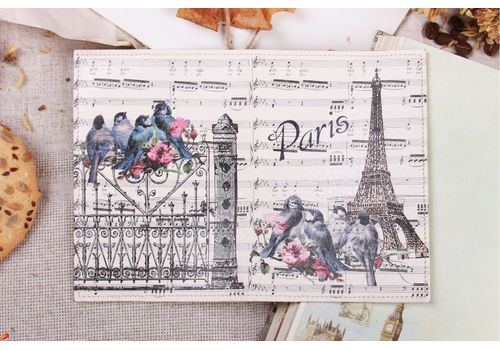 """фото 2 - Обложка на паспорт """"Париж и ноты"""" эко-кожа"""