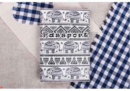 """зображення 1 - Обкладинка на паспорт """"Слоники візерунок"""" еко-шкіра"""