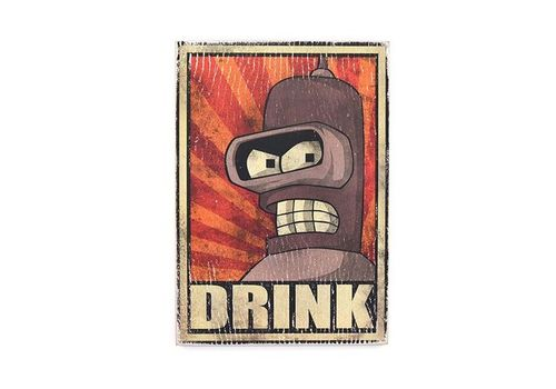 фото 1 - Постер Futurama #7 DRINK Wood Posters 28.5 х 20 см