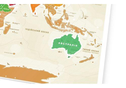 """зображення 2 - Скретч-карта 1DEA.me """"Travel map Gold world"""" ukr (80*60см)"""