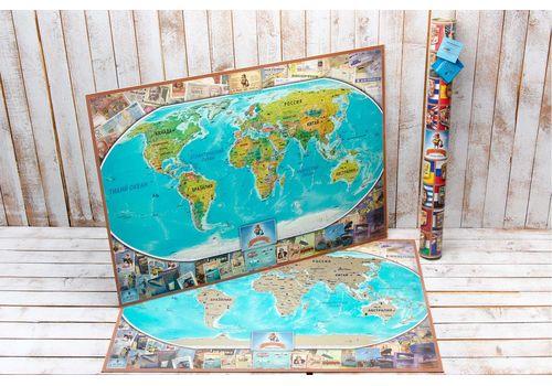 зображення 1 - Скретч карта світу на російській мові в ретро стилі Набір Vintage RU 88х63