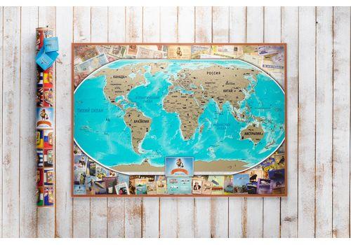 зображення 2 - Скретч карта світу на російській мові в ретро стилі Набір Vintage RU 88х63