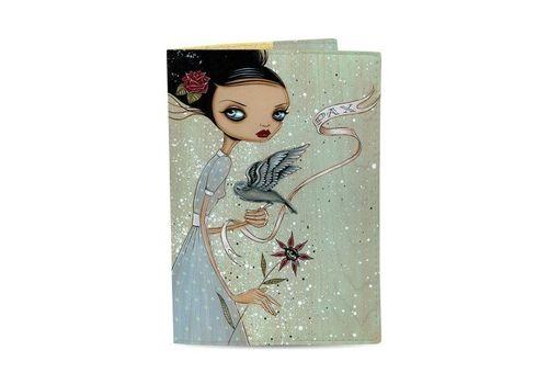 """фото 1 - Обложка на паспорт Just cover """"Девушка с цветком и птицей"""" 13,5 х 9,5 см"""