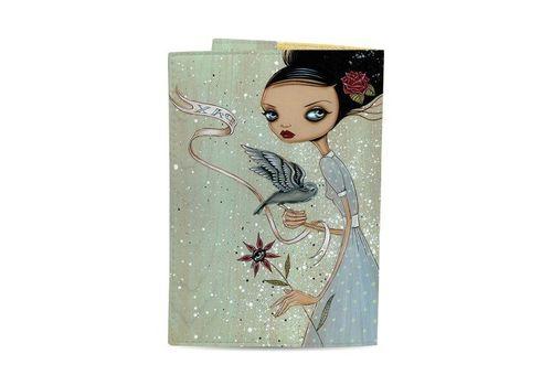 """фото 3 - Обложка на паспорт Just cover """"Девушка с цветком и птицей"""" 13,5 х 9,5 см"""