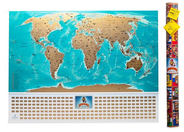 My Map Flags edition - светлая и яркая, детализированная и продумана до мелочей карта. На карте отдельно вынесены более 200 флагов стран, которые также покрыты скретч-слоем, поэтому стирай и изучай их.