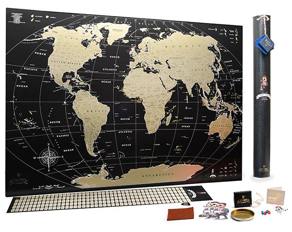 My Map Black Edition - детальная скретч-карта мира, выполненная в черном цвете с использованием золотого скретч-слоя, выборочного лака, бронзовой краски, что делает ее подарком премиального уровня.