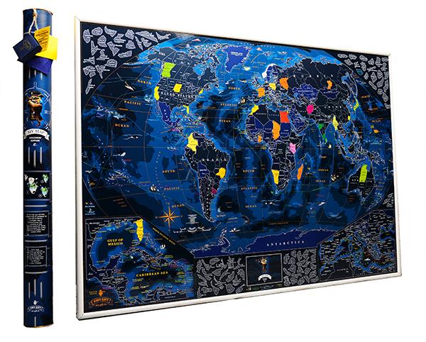 My Map Discovery edition - это невероятная скретч-карта мира! Это самый морской из всех морских дизайнов. Насыщенные тона моря, сочные и яркие краски под голубым скретч-слоем. В углах карты - увеличенный Карибский бассейн и Европа, что бы тебе было удобнее стирать маленькие страны и острова.