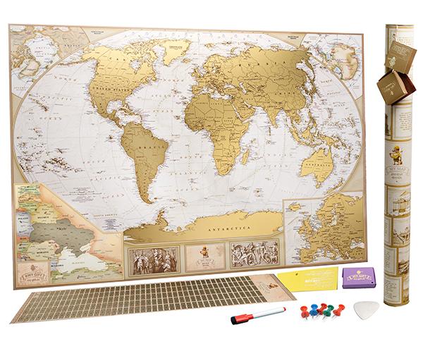My Map Antique Edition - очень подробная скретч-карта мира. Ты сможешь найти на ней больше 10 000 населенных пунктов. Выполнена в античном стиле и в пастельной цветовой гамме. Покрытая золотым скретч-слоем. Карта дополнена увеличенными картами Украины и Европы.